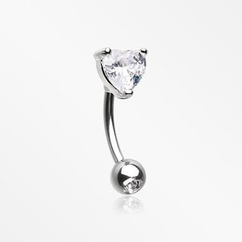 Heart Gem Sparkle Prong Curved Barbell