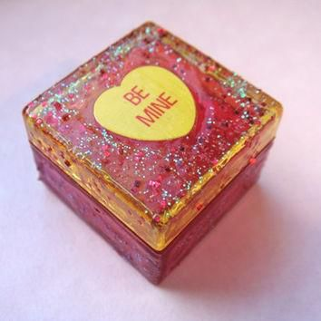 Be Mine Trinket Box, Pink and Yellow Glitter, Conversation Heart, Valentines Day, Pill