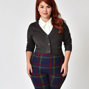 Charcoal Grey Plus Size Three-Quarter Sleeve Button Up Crop Cardigan