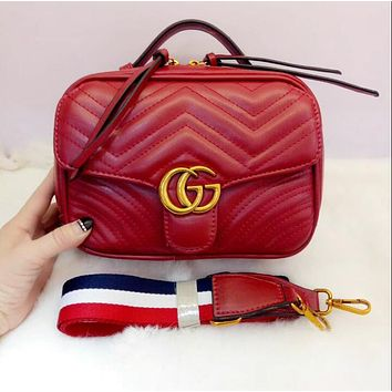 GUCCI Popular Women Metal G Double Zipper Leather Satchel Shoulder Bag Crossbody Red I-MYJSY-BB