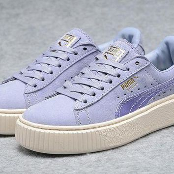 DCCKIJ2 Puma Rihanna Casual Suede Creeper Flatform Shoes Purple