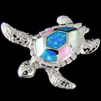 INLAY TRICOLOR OPAL HAWAIIAN SEA TURTLE SLIDE PENDANT 925 STERLING SILVER 27MM