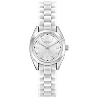 Caravelle 43L176 Women's Mini Brights New York Silver Dial White Rubber Strap Watch