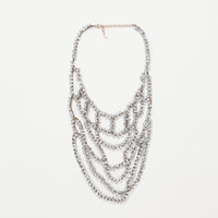 Long necklace with transparent crystals