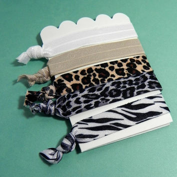 Set of 5 Animal Print Themed Fold Over Elastic Hair Ties