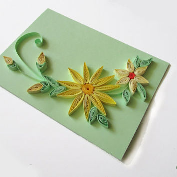 Pastel Flower Quilling Card, Pastel Handmade Greeting Card