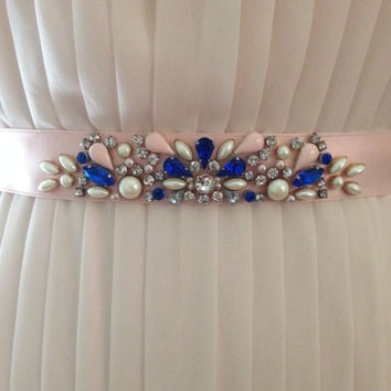 Sapphire, Blush, Crystal, and Pearl Beaded Bridesmaids Satin Ribbon Belt in Floral Motif