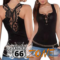 Sexy Lace up Women's Tank Top with Floral Embroidered Lace on Back