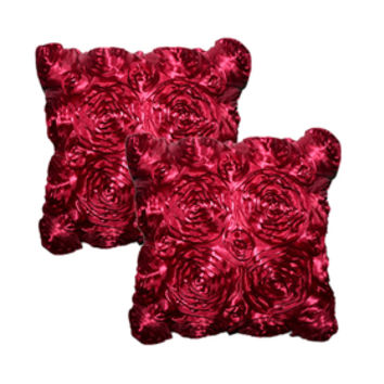 Aspire 2 Pieces Rose Style Satin Pillowcases / Cushion Pillow Cover Gift Idea