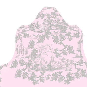 Wall Decal Headboard - Children's Toile - Curvy - Pink and Gray - Twin