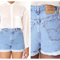 ALL SIZES Cut Off Rolled Up  LEVI'S Vintage  High by ShopAudella