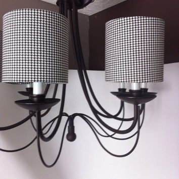 Chandelier shade or sconce shade, Drum shades in houndstooth fabric