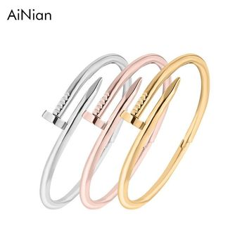 Screws Nail Cuff Bangles Copper Love Bracelet For Women