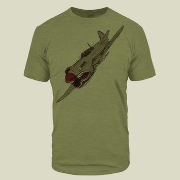 War Shark Plane Olive Light Tri-Blend T-Shirt