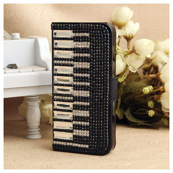 Two Sided Piano Keys Black Rhinestones Girly Phone Case for iPhone 5 4S 3GS