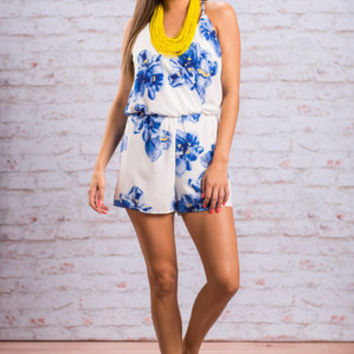 Young Romance Romper, Royal Blue