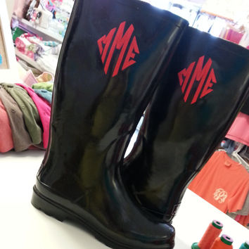 Monogrammed Rain Boots Black  Font Shown DIAMOND