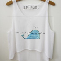 Whale Crop Top by CatsFashionClothes on Etsy