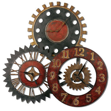 Uttermost Rusty Movements Large Wall Clock - Collage - Rustic Colors