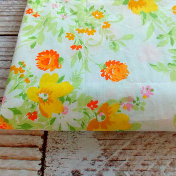 Vintage Twin Flat Sheet  / Yellow & Orange Floral / Vintage Linens
