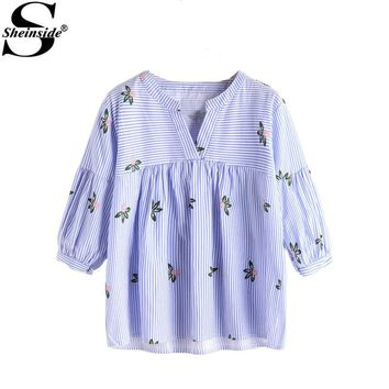 Sheinside Cute Tunic Blouse 2017 Women Blue Stripe Floral Print Casual Smock Summer Tops Fashion V Neck Lovely Babydoll Blouse