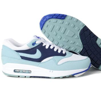 NIKE AIR MAX 1 Anniversary Fashion Leisure Sports Shoes Women Men Contrast Sneakers B-A-QDSK-Buy Micro Dark blue+ligh blue