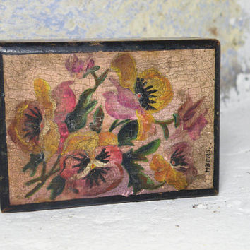 French vintage hand-painted wooden box. trinket box. rustic box. antique box. Pansy box. Painted pansies. decorative box. keepsake box