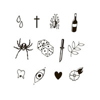 Face Tattoo Set | Vintage Tattoo Set | Retro Tattoo Set | Pack of 12 Temporary Tattoo | Small Tattoo | Drop Cross Bug Vine Spider Dice Eye