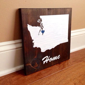Washington Custom Wood Sign, Washington State Sign, Stained and Hand Painted, Personalize, Washington decor