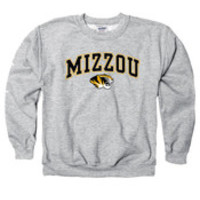 Missouri Tigers Kids Grey Arch Mascot Long Sleeve Crew Sweatshirt - 22780951