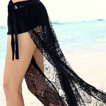 Black Sheer Lace Beach Skirt Cover Up