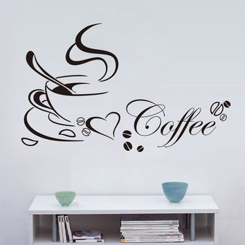 1pcs Black Coffee Wall Stickers Coffee Cup Wall Decal Living Rooms Bedroom Kitchen Home Decor Wall Wallpapers Art Poster Mural