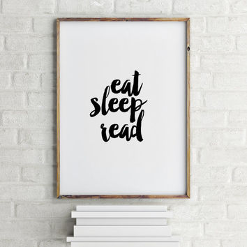 "Wall Art Scandinavian Design Book PRINT ""Eat Sleep Read"" Inspirational Motivational Poster Lover Gift Reading Art Word Art Printable poster"