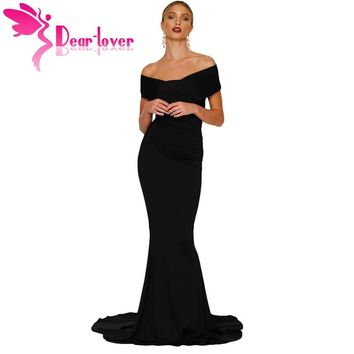 Dear-Lover Formal Party Gowns Sexy Maxi Robe De Soiree Short Sleeve Black Off-shoulder Mermaid Long Dress vestido de noiva 61566