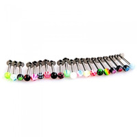 20pcs Colorful Stainless Steel Ball Lip Rings Bars Labret Stud Piercing H8818 Cosmetic (Color: Multicolor) = 1651277956