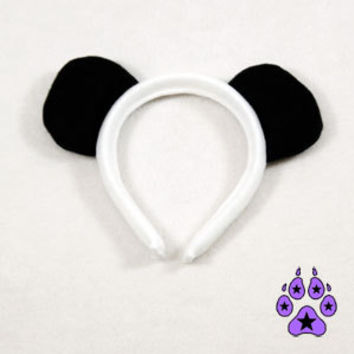 Black Fleece Panda Bear Ear Headband Ears Cosplay White 3008