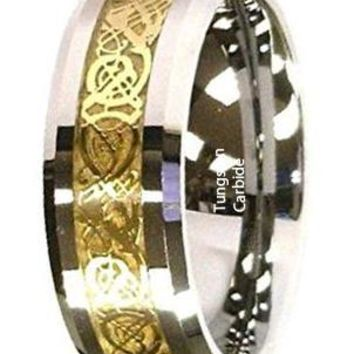 CERTIFIED 8Mm Gold Celtic Dragon Tungsten Carbide Ring Mens Jewelry Wedding Band
