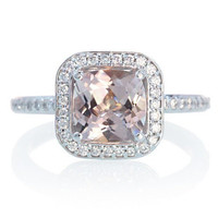 14 Karat White Gold Cushion Cut Diamond Halo Morganite Engagement Anniversary Wedding Ring