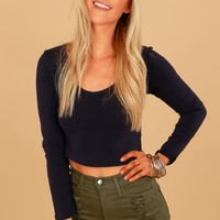 V-Neck Crop Top Navy