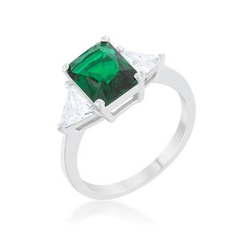 Classic Emerald Green Sterling Silver Engagement Ring, size : 07