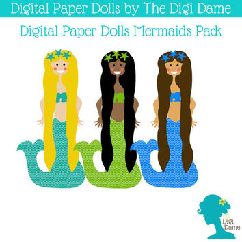 Printable Paper Dolls: Digital Mermaids Set - Includes 3 Dolls and 3 Sets of Mermaid Fashion in Blue and Green, with Long Mermaid Wigs