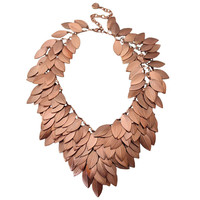 Layered Leaves Chocker Bib Necklace
