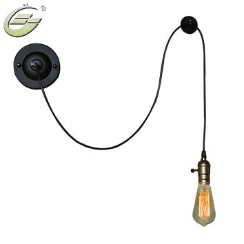 Vintage Industrial Black Iron Wire Wall Light E27 Edison Bulb Loft Bedside Lamp Home Decoration Living Room Study Bar Cafe