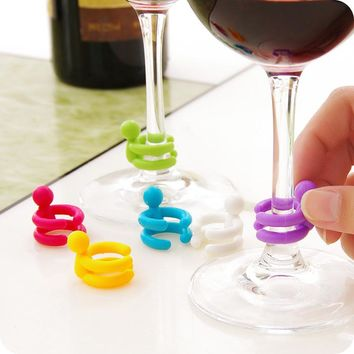 7 pcs/set Wine Cup Mixproof Silicone Marker Bars/Party Prevent Confuse Rubber Wine Glasses Label With Bottle Stopper