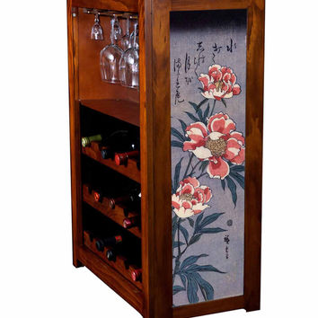 Liquor cabinet with peonies by Hiroshige