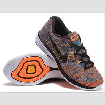NIKE woven casual shoes light running shoes Blue Orange(black hook)