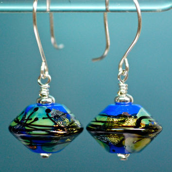 Xmas special earrings handmade art glass lapis and sterling drop earrings gifts under 25.00 new paulbead