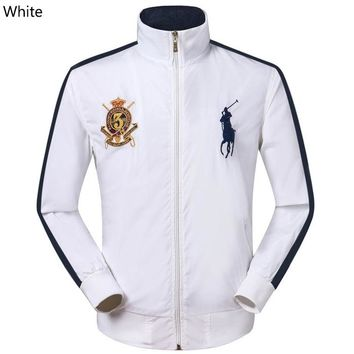 POLO RALPH LAUREN 2018 new trend men's breathable casual embroidery logo stand collar jacket white