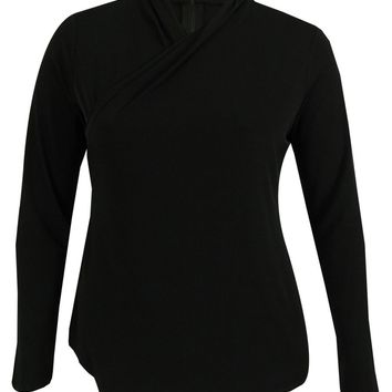 Kenneth Cole Long Sleeve Faux Wrap Top