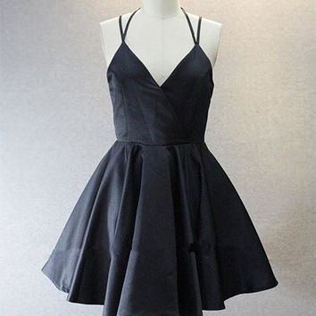 A Live V Neck Short Black Prom Dress, Short Black Homecoming Dress, Graduation Dress, Formal Dress